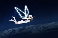 Девушка Анджела летая высоко Стоковая Фотография RF