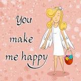 Девушка Анджела с корзиной цветков вы делаете меня счастливый Стоковые Фотографии RF