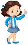 Девушка Аргентины в голубой и белой striped куртке иллюстрация штока