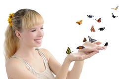 девушка бабочек стоковая фотография