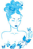 девушка бабочек Стоковая Фотография RF