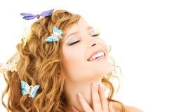 девушка бабочки Стоковое Изображение RF
