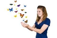 девушка бабочки Стоковые Изображения