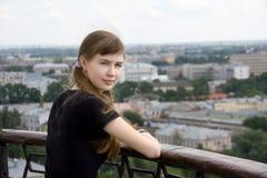 девушка балкона Стоковое Фото