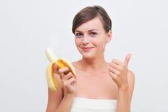 девушка банана Стоковое Фото