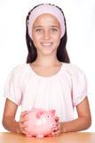 девушка банка немногая piggy Стоковая Фотография RF