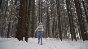 Девушка бежит в девушке леса зимы красивой с длинными темными волосами в белой куртке идя в лес зимы во время s акции видеоматериалы