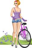 девушка блондинкы велосипедиста Стоковые Фотографии RF