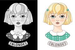 Девушка блондинкы шаржа Милое маленькое предназначенное для подростков вектор Стоковое Фото