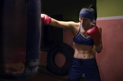 Девушка боксера нося красные перчатки и bandana Стоковое Фото