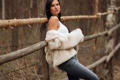 Девушка брюнета на деревянной загородке стоковые изображения rf
