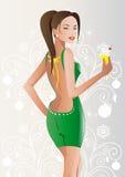 Девушка, брюнет, зеленый цвет, платье иллюстрация штока