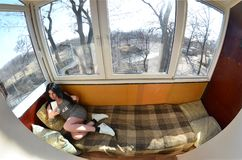 Девушка брюнет использует современный smartphone касания стоковое изображение