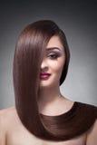 Девушка брюнет с длиной, сияющими и прямыми волосами Здоровые длинние прямые волосы Стоковое фото RF