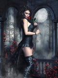 Девушка вампира с розами бесплатная иллюстрация