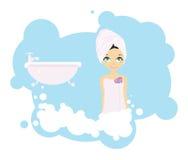 девушка ванны иллюстрация штока