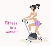 Девушка вектора делает велотренажер, женщину делает разминку фитнеса Стоковая Фотография RF