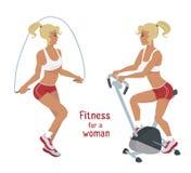 Девушка вектора делает прыгая веревочку, велотренажер, разминку фитнеса женщины Стоковое Фото
