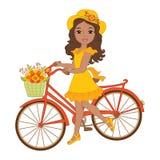 Девушка вектора красивая Афро-американская с велосипедом иллюстрация штока