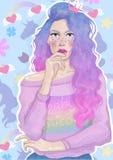 Девушка вектора красивая с ультрамодным ярким свитером волос и радуги отражала на предпосылке цветков и единорогов иллюстрация вектора