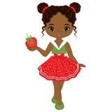 Девушка вектора милая маленькая Афро-американская с клубникой иллюстрация вектора