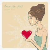 Девушка вектора с сердцем Валентайн st сердца романское s дня бесплатная иллюстрация