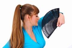 девушка вентилятора играя довольно Стоковое Изображение