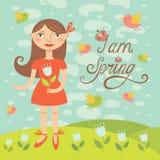 Девушка весны с птицами. Поздравительная открытка Иллюстрация вектора