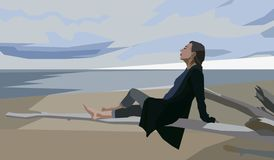 Девушка взморья на seashore пляжа бесплатная иллюстрация