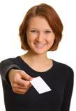 девушка визитной карточки стоковые изображения