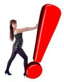 девушка возгласа нажимая красный знак Стоковая Фотография RF
