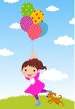 девушка воздушного шара счастливая Стоковые Фотографии RF