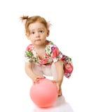 девушка воздушного шара стоковые фотографии rf