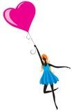 девушка воздушного шара Иллюстрация вектора