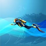 Девушка водолаза акваланга иллюстрация вектора