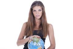 девушка вручает ее мир удерживания Стоковая Фотография
