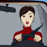 Девушка в автомобиле иллюстрация вектора