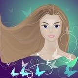 Девушка в бабочке Стоковое Изображение RF