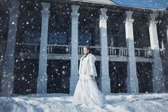 Девушка в белых меховой шыбе и кроне на фоне старого здания Стоковые Изображения RF