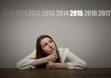 Девушка в белизне и две тысячи и 15 Стоковые Изображения