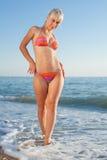 Девушка в бикини на море стоковая фотография