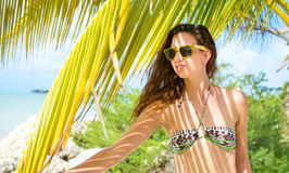 Девушка в бикини на тропическом пляже Стоковые Изображения RF