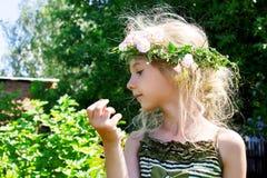 Девушка в венке 4640 травы Стоковые Изображения RF