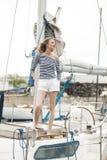 Девушка в ветре Стоковая Фотография