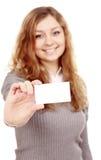 Девушка в визитной карточке - изолированной над белой предпосылкой Стоковые Изображения
