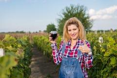 Девушка в винограднике стоковые изображения