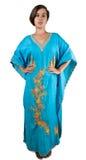 Девушка в голубом индийском платье Стоковые Изображения RF