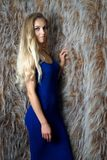 Девушка в голубом платье представляя против стены Стоковое Изображение