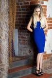 Девушка в голубом платье представляя против brickwall Стоковое Изображение RF