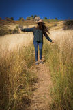 Девушка в горах Стоковые Фото